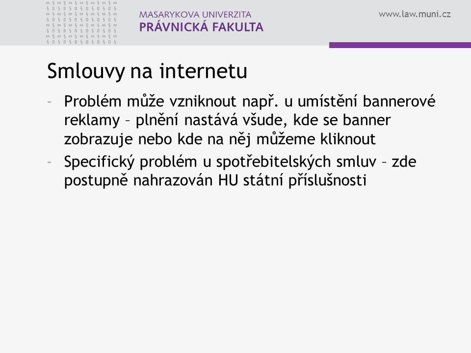 www.law.muni.cz Smlouvy na internetu -Problém může vzniknout např. u umístění bannerové reklamy – plnění nastává všude, kde se banner zobrazuje nebo k