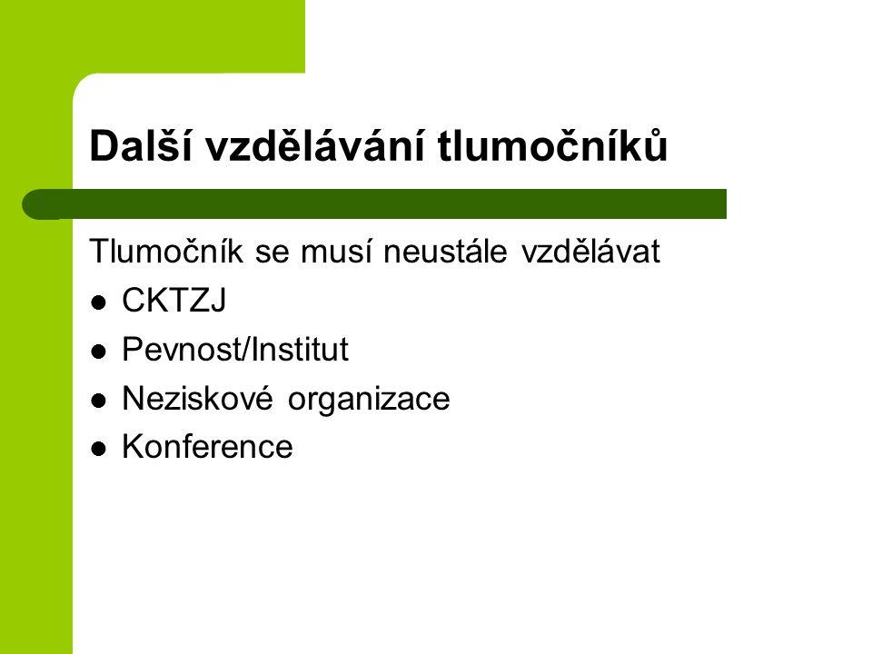Další vzdělávání tlumočníků Tlumočník se musí neustále vzdělávat CKTZJ Pevnost/Institut Neziskové organizace Konference