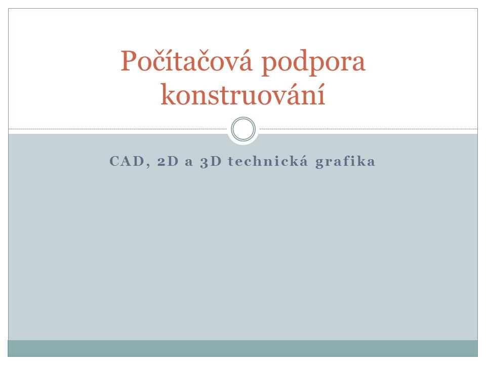 CAD – Computer Aided Design (počítačová podpora konstruování).
