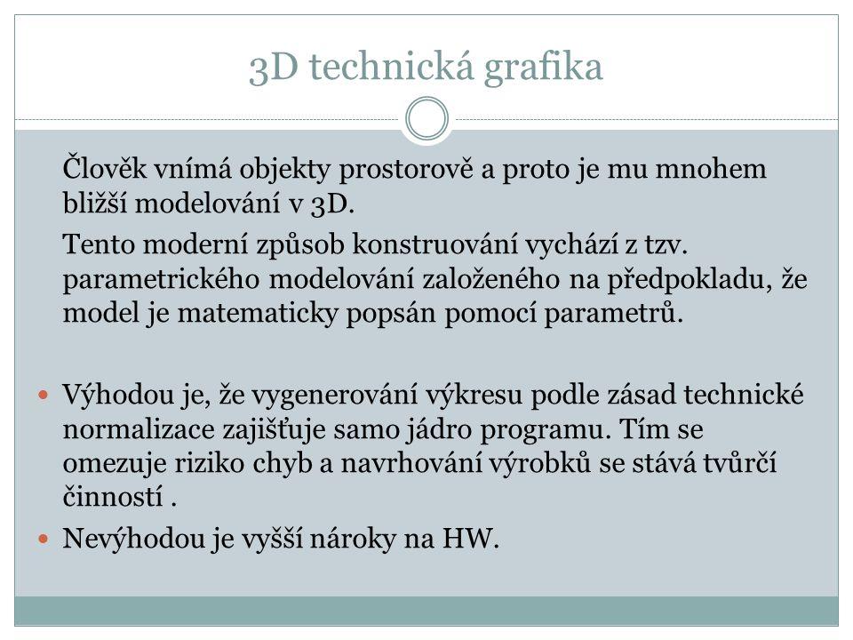 3D technická grafika Člověk vnímá objekty prostorově a proto je mu mnohem bližší modelování v 3D. Tento moderní způsob konstruování vychází z tzv. par