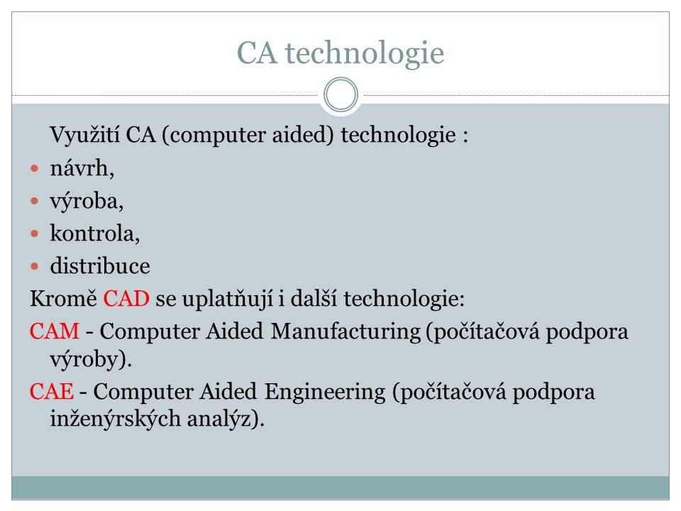 CA technologie Využití CA (computer aided) technologie : návrh, výroba, kontrola, distribuce Kromě CAD se uplatňují i další technologie: CAM - Compute