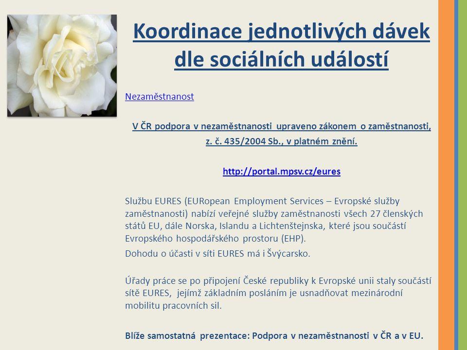 Koordinace jednotlivých dávek dle sociálních událostí Nezaměstnanost V ČR podpora v nezaměstnanosti upraveno zákonem o zaměstnanosti, z. č. 435/2004 S