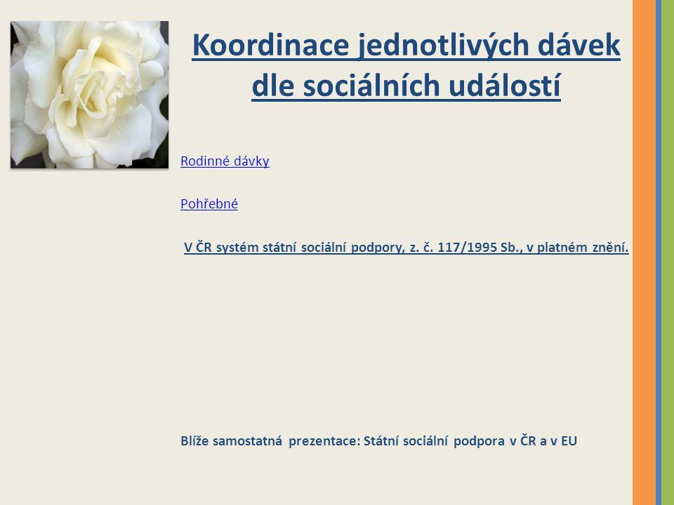 Koordinace jednotlivých dávek dle sociálních událostí Rodinné dávky Pohřebné V ČR systém státní sociální podpory, z. č. 117/1995 Sb., v platném znění.