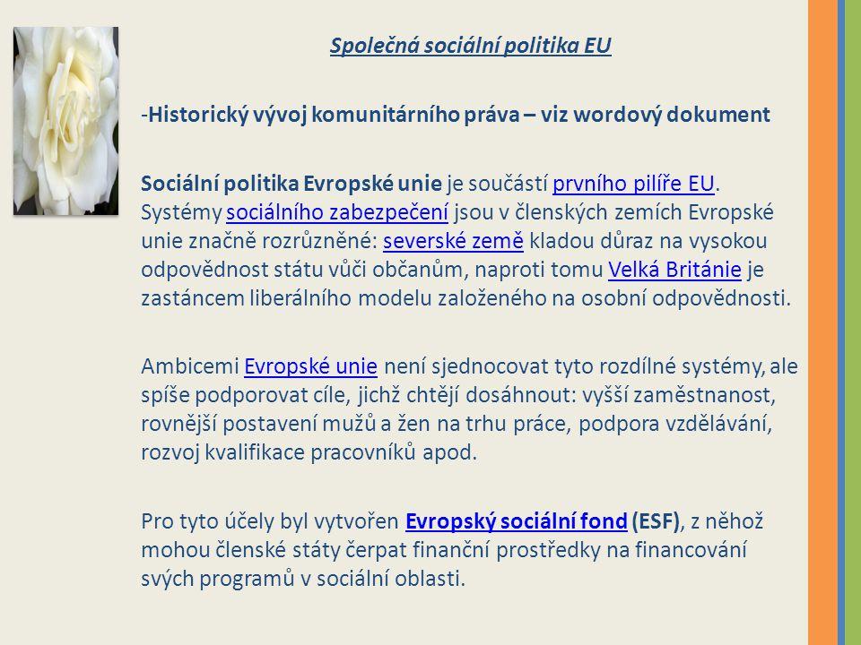 Společná sociální politika EU -Historický vývoj komunitárního práva – viz wordový dokument Sociální politika Evropské unie je součástí prvního pilíře EU.
