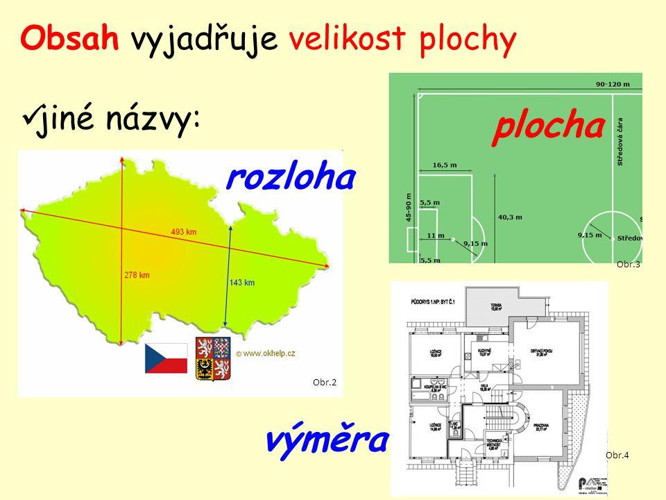 Obsah vyjadřuje velikost plochy jiné názvy: výměra Obr.2 rozloha Obr.3 plocha Obr.4