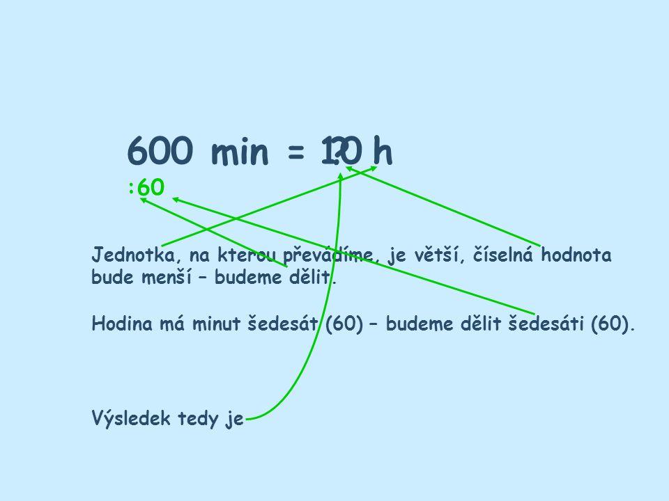 600 min = h10 ? Jednotka, na kterou převádíme, je větší, číselná hodnota bude menší – budeme dělit. 60 : Hodina má minut šedesát (60) – budeme dělit š