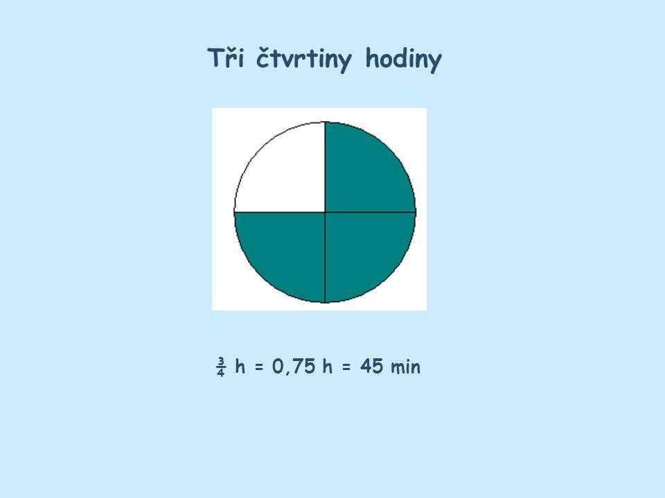 Tři čtvrtiny hodiny ¾ h = 0,75 h = 45 min