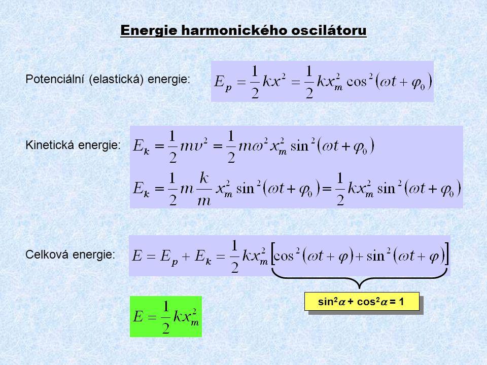 Energie harmonického oscilátoru Potenciální (elastická) energie: Kinetická energie: Celková energie: sin 2  + cos 2  = 1