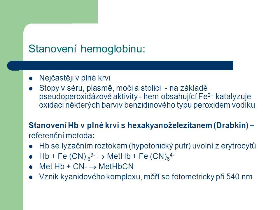 Stanovení hemoglobinu: Nejčastěji v plné krvi Stopy v séru, plasmě, moči a stolici - na základě pseudoperoxidázové aktivity - hem obsahující Fe 2+ kat