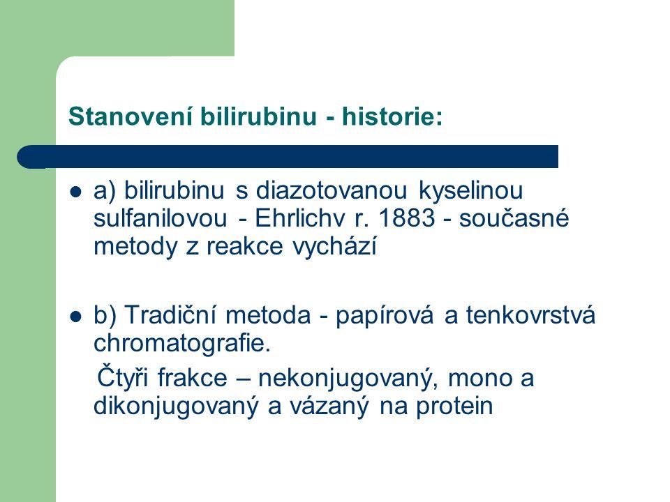 Stanovení bilirubinu - historie: a) bilirubinu s diazotovanou kyselinou sulfanilovou - Ehrlichv r. 1883 - současné metody z reakce vychází b) Tradiční