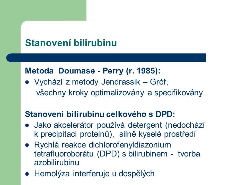 Stanovení bilirubinu Metoda Doumase - Perry (r. 1985): Vychází z metody Jendrassik – Gróf, všechny kroky optimalizovány a specifikovány Stanovení bili
