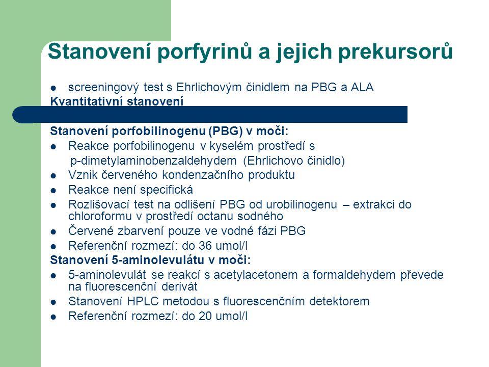 Stanovení porfyrinů a jejich prekursorů screeningový test s Ehrlichovým činidlem na PBG a ALA Kvantitativní stanovení Stanovení porfobilinogenu (PBG)