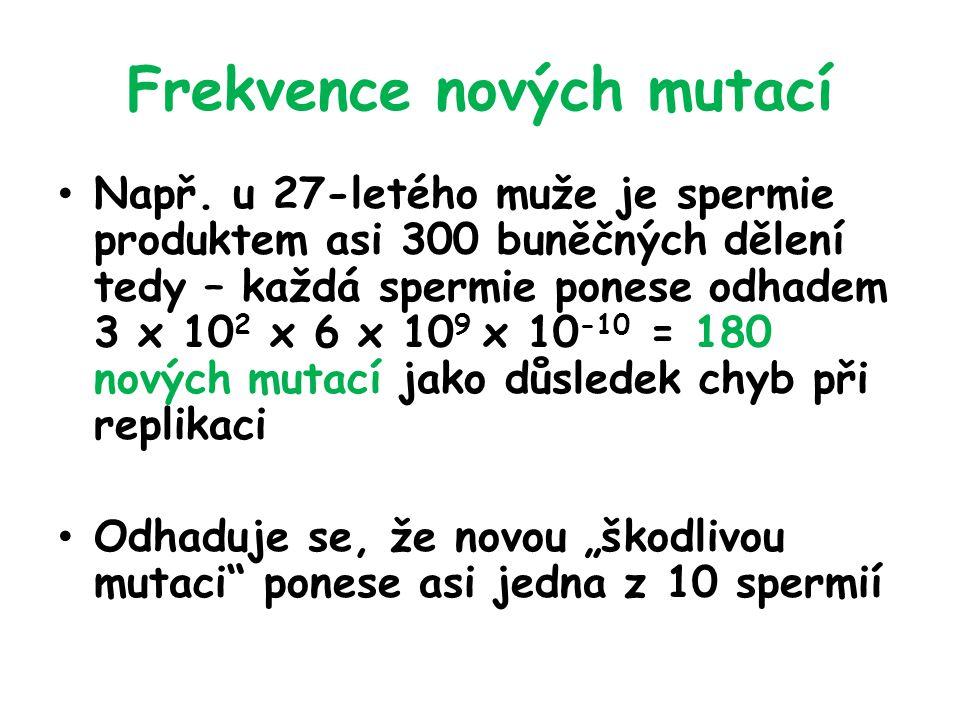 Frekvence nových mutací Např.