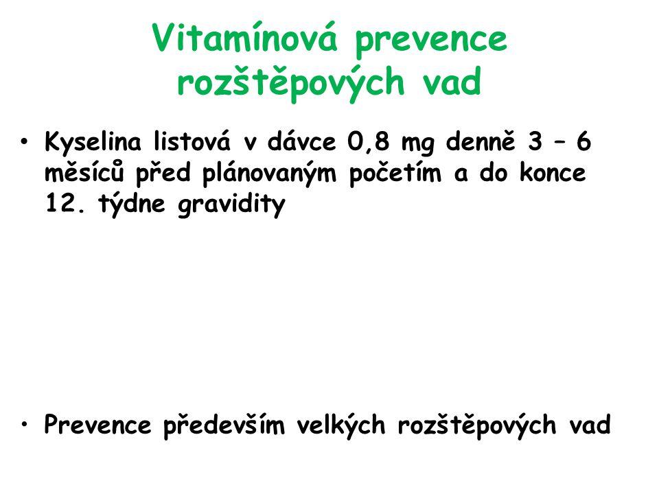 Vitamínová prevence rozštěpových vad Kyselina listová v dávce 0,8 mg denně 3 – 6 měsíců před plánovaným početím a do konce 12.