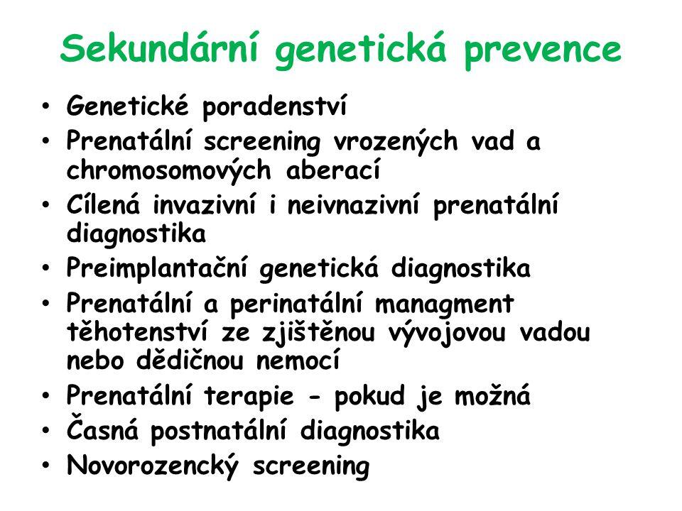 Sekundární genetická prevence Genetické poradenství Prenatální screening vrozených vad a chromosomových aberací Cílená invazivní i neivnazivní prenatální diagnostika Preimplantační genetická diagnostika Prenatální a perinatální managment těhotenství ze zjištěnou vývojovou vadou nebo dědičnou nemocí Prenatální terapie - pokud je možná Časná postnatální diagnostika Novorozencký screening