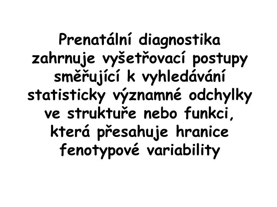 Prenatální diagnostika zahrnuje vyšetřovací postupy směřující k vyhledávání statisticky významné odchylky ve struktuře nebo funkci, která přesahuje hranice fenotypové variability