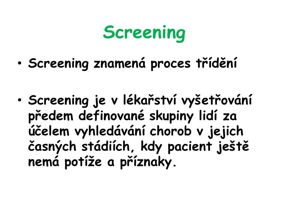 Screening Screening znamená proces třídění Screening je v lékařství vyšetřování předem definované skupiny lidí za účelem vyhledávání chorob v jejich časných stádiích, kdy pacient ještě nemá potíže a příznaky.