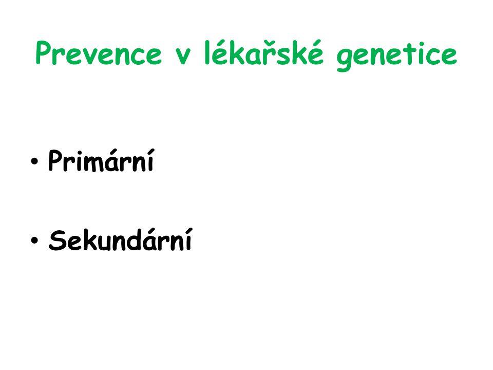 Sekundární genetická prevence Předčasné ukončení těhotenství Presymptomatický screening Zábrana klinické manifestace dědičného onemocnění v pre-klinickém období Postnatální péče a terapie Retrospektivní genetické poradenství