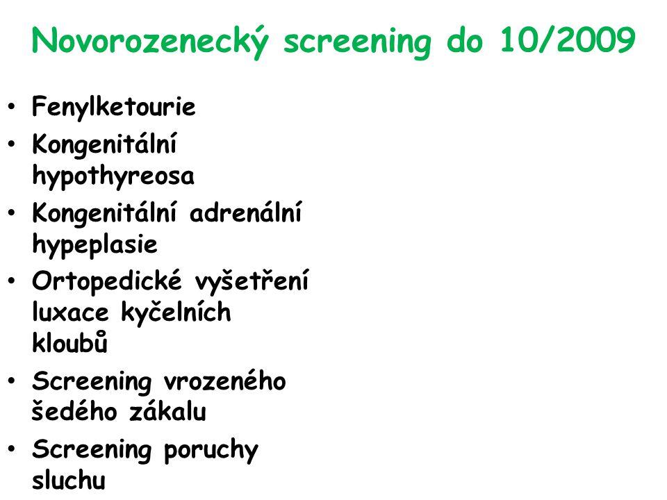 Novorozenecký screening do 10/2009 Fenylketourie Kongenitální hypothyreosa Kongenitální adrenální hypeplasie Ortopedické vyšetření luxace kyčelních kloubů Screening vrozeného šedého zákalu Screening poruchy sluchu