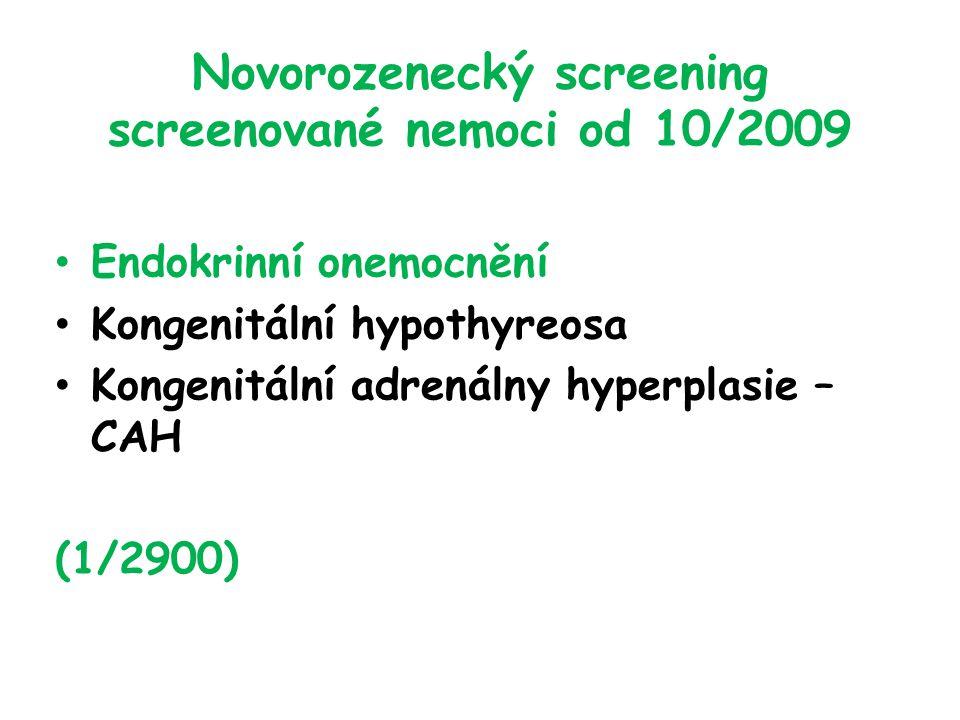Novorozenecký screening screenované nemoci od 10/2009 Endokrinní onemocnění Kongenitální hypothyreosa Kongenitální adrenálny hyperplasie – CAH (1/2900)