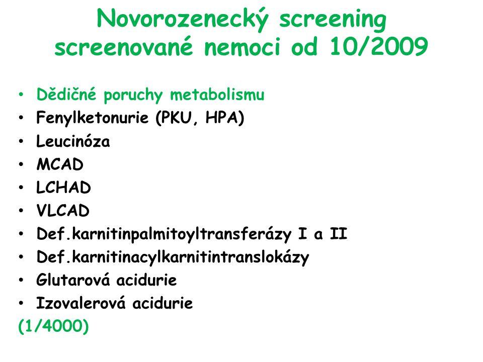 Novorozenecký screening screenované nemoci od 10/2009 Dědičné poruchy metabolismu Fenylketonurie (PKU, HPA) Leucinóza MCAD LCHAD VLCAD Def.karnitinpalmitoyltransferázy I a II Def.karnitinacylkarnitintranslokázy Glutarová acidurie Izovalerová acidurie (1/4000)