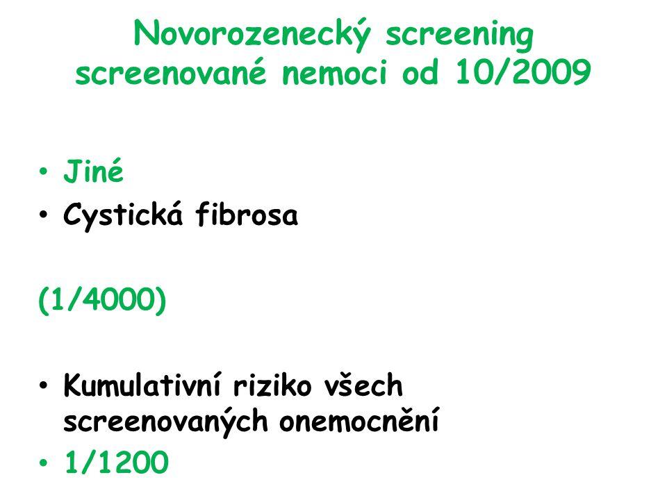 Novorozenecký screening screenované nemoci od 10/2009 Jiné Cystická fibrosa (1/4000) Kumulativní riziko všech screenovaných onemocnění 1/1200