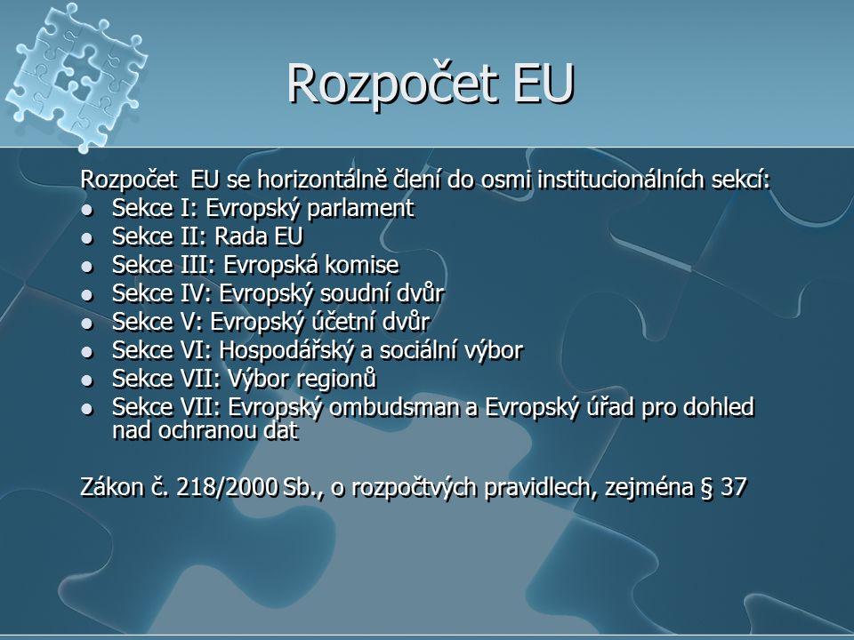 Rozpočet EU Rozpočet EU se horizontálně člení do osmi institucionálních sekcí: Sekce I: Evropský parlament Sekce II: Rada EU Sekce III: Evropská komise Sekce IV: Evropský soudní dvůr Sekce V: Evropský účetní dvůr Sekce VI: Hospodářský a sociální výbor Sekce VII: Výbor regionů Sekce VII: Evropský ombudsman a Evropský úřad pro dohled nad ochranou dat Zákon č.
