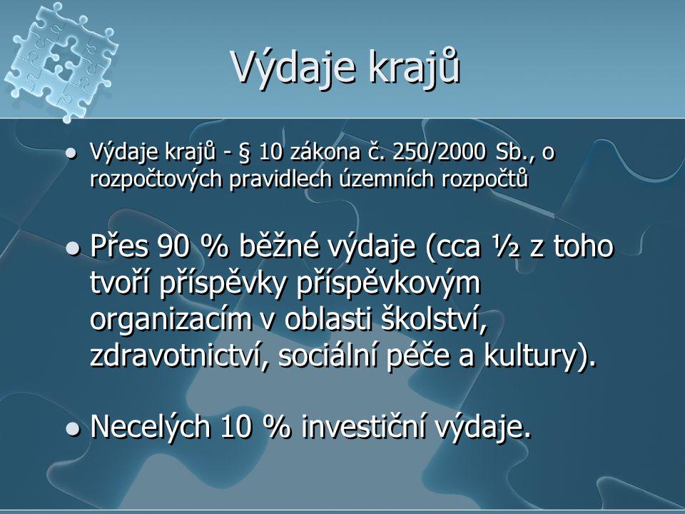 Výdaje krajů Výdaje krajů - § 10 zákona č.
