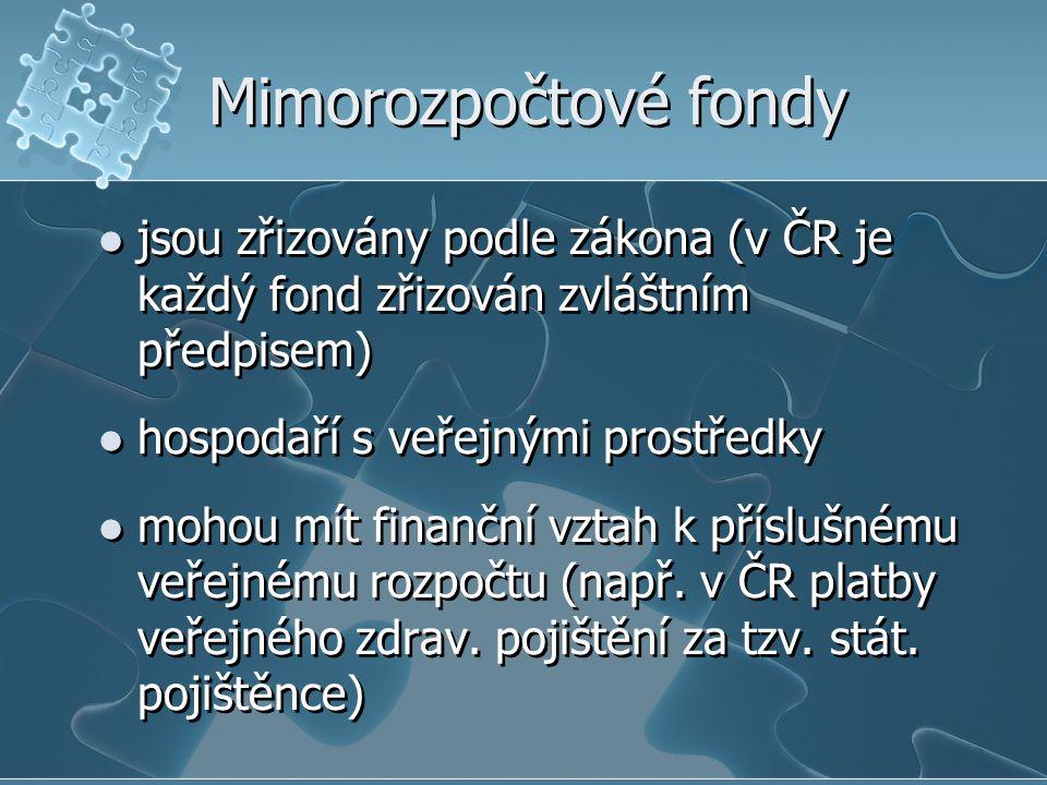 Mimorozpočtové fondy jsou zřizovány podle zákona (v ČR je každý fond zřizován zvláštním předpisem) hospodaří s veřejnými prostředky mohou mít finanční vztah k příslušnému veřejnému rozpočtu (např.