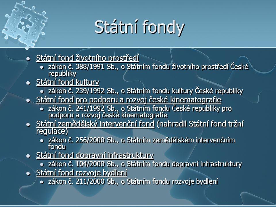 Státní fondy Státní fond životního prostředí zákon č. 388/1991 Sb., o Státním fondu životního prostředí České republiky Státní fond kultury zákon č. 2