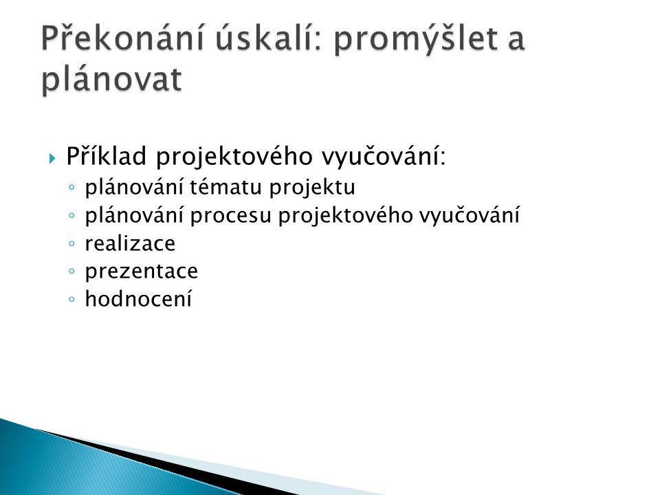  Příklad projektového vyučování: ◦ plánování tématu projektu ◦ plánování procesu projektového vyučování ◦ realizace ◦ prezentace ◦ hodnocení