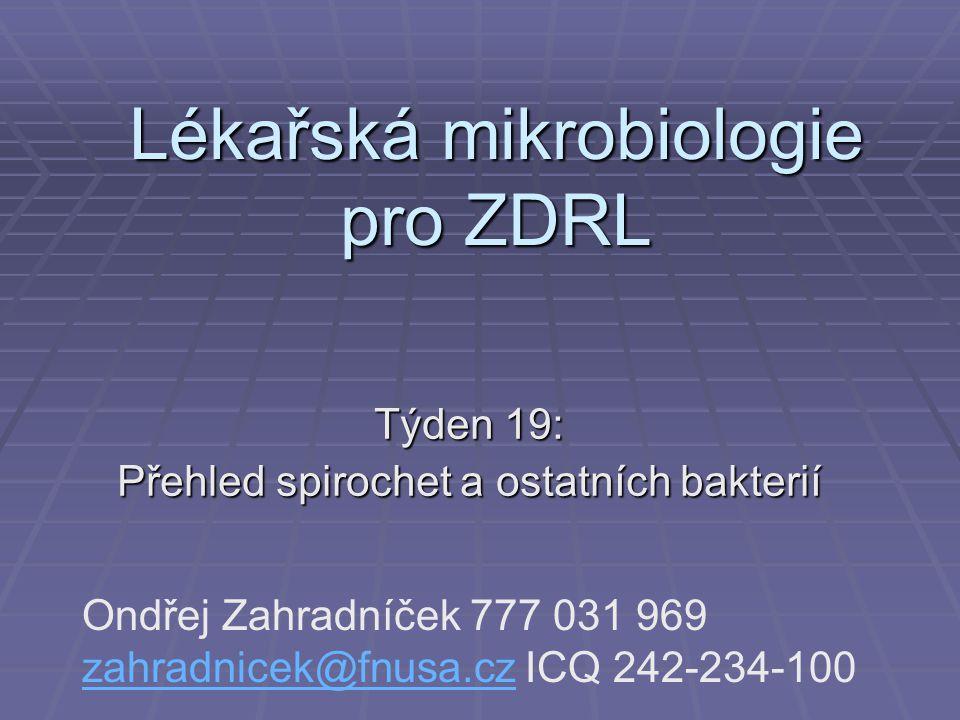 Lékařská mikrobiologie pro ZDRL Týden 19: Přehled spirochet a ostatních bakterií Ondřej Zahradníček 777 031 969 zahradnicek@fnusa.cz ICQ 242-234-100 z