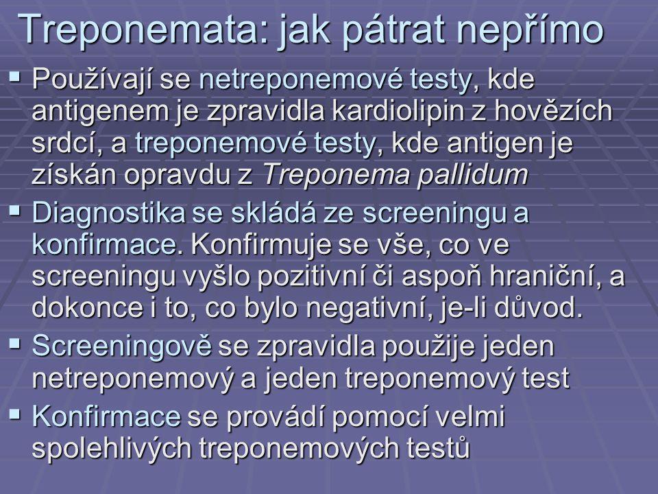 Treponemata: jak pátrat nepřímo  Používají se netreponemové testy, kde antigenem je zpravidla kardiolipin z hovězích srdcí, a treponemové testy, kde