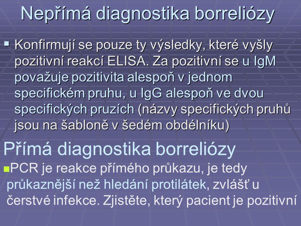 Nepřímá diagnostika borreliózy  Konfirmují se pouze ty výsledky, které vyšly pozitivní reakcí ELISA. Za pozitivní se u IgM považuje pozitivita alespo