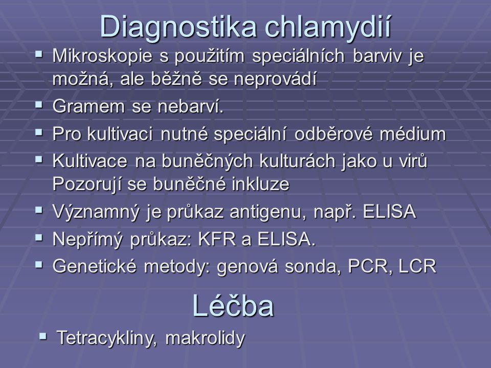 Diagnostika chlamydií  Mikroskopie s použitím speciálních barviv je možná, ale běžně se neprovádí  Gramem se nebarví.  Pro kultivaci nutné speciáln