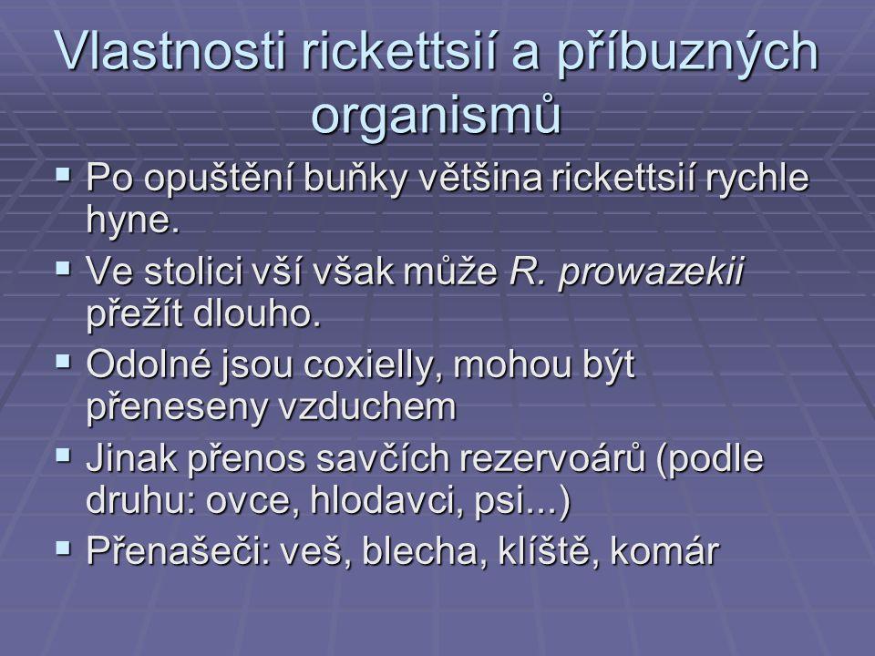 Vlastnosti rickettsií a příbuzných organismů  Po opuštění buňky většina rickettsií rychle hyne.  Ve stolici vší však může R. prowazekii přežít dlouh