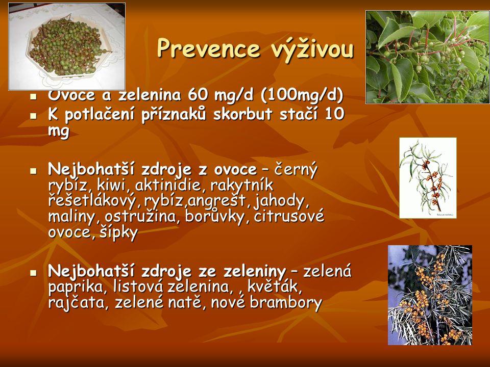 Prevence výživou Prevence výživou Ovoce a zelenina 60 mg/d (100mg/d) Ovoce a zelenina 60 mg/d (100mg/d) K potlačení příznaků skorbut stačí 10 mg K pot