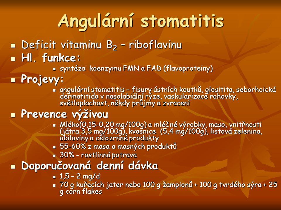 Angulární stomatitis Deficit vitaminu B 2 – riboflavinu Deficit vitaminu B 2 – riboflavinu Hl. funkce: Hl. funkce: syntéza koenzymu FMN a FAD (flavopr