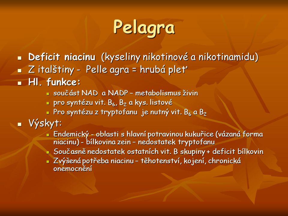 Pelagra Deficit niacinu (kyseliny nikotinové a nikotinamidu) Deficit niacinu (kyseliny nikotinové a nikotinamidu) Z italštiny - Pelle agra = hrubá ple
