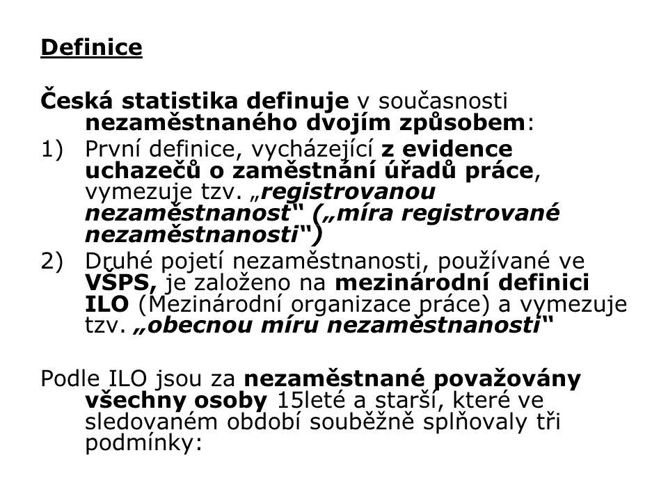 STRUČNÝ VÝVOJ NEZAMĚSTNANOSTI V ČR Výrazný nárůst uchazečů o zaměstnání mezi počátečním rokem registrování nezaměstnanosti u nás (1989) a rokem 1991 byl zapříčiněn především velmi benevolentními legislativními opatřeními platnými až do konce roku 1991 ta totiž umožňovala zaevidování na úřadech práce a získání příspěvků před nástupem do zaměstnání i nikdy v minulosti nepracujícím občanům, kteří ani o skutečné zaměstnání zájem neměli.
