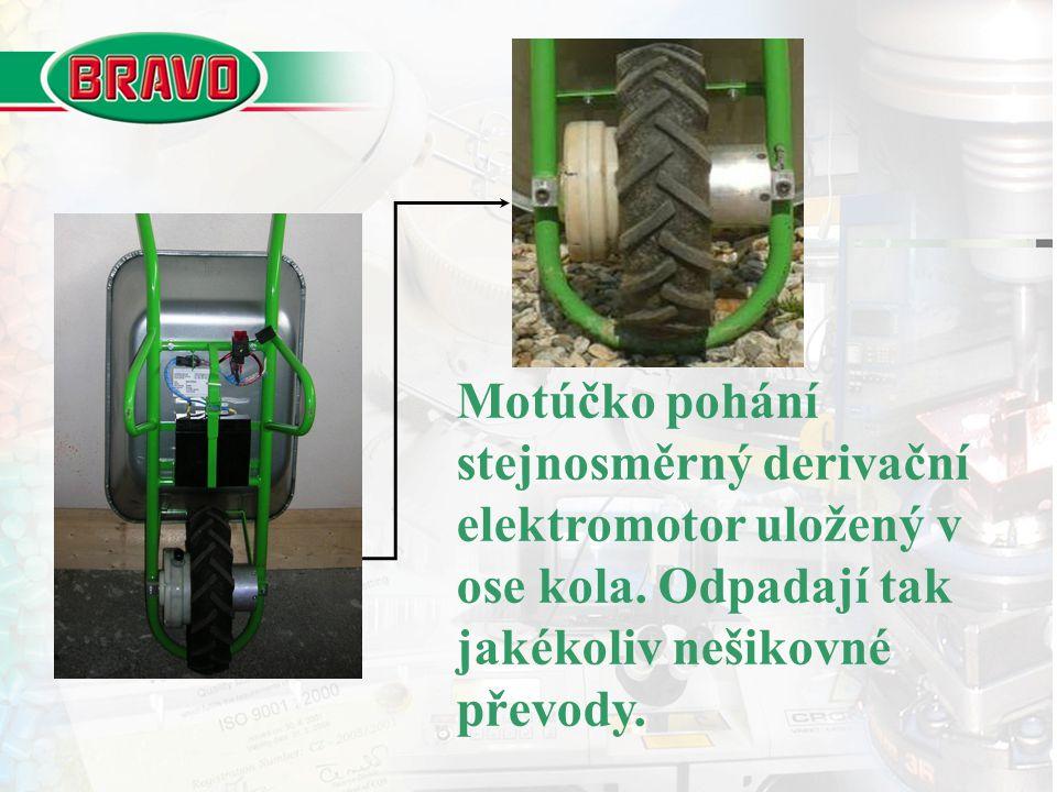 Motúčko pohání stejnosměrný derivační elektromotor uložený v ose kola. Odpadají tak jakékoliv nešikovné převody.