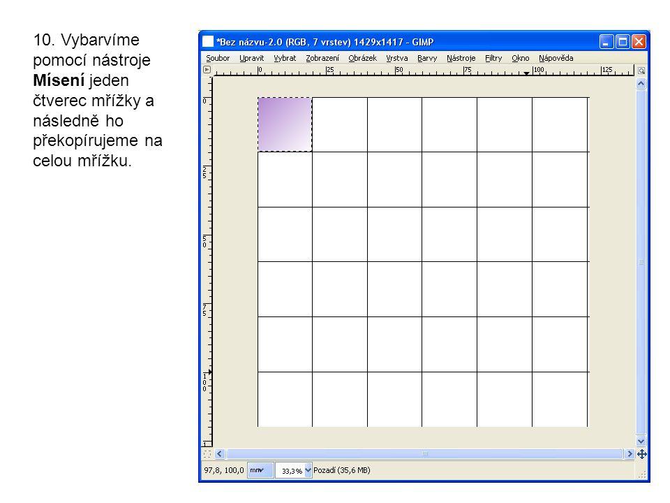 10. Vybarvíme pomocí nástroje Mísení jeden čtverec mřížky a následně ho překopírujeme na celou mřížku.