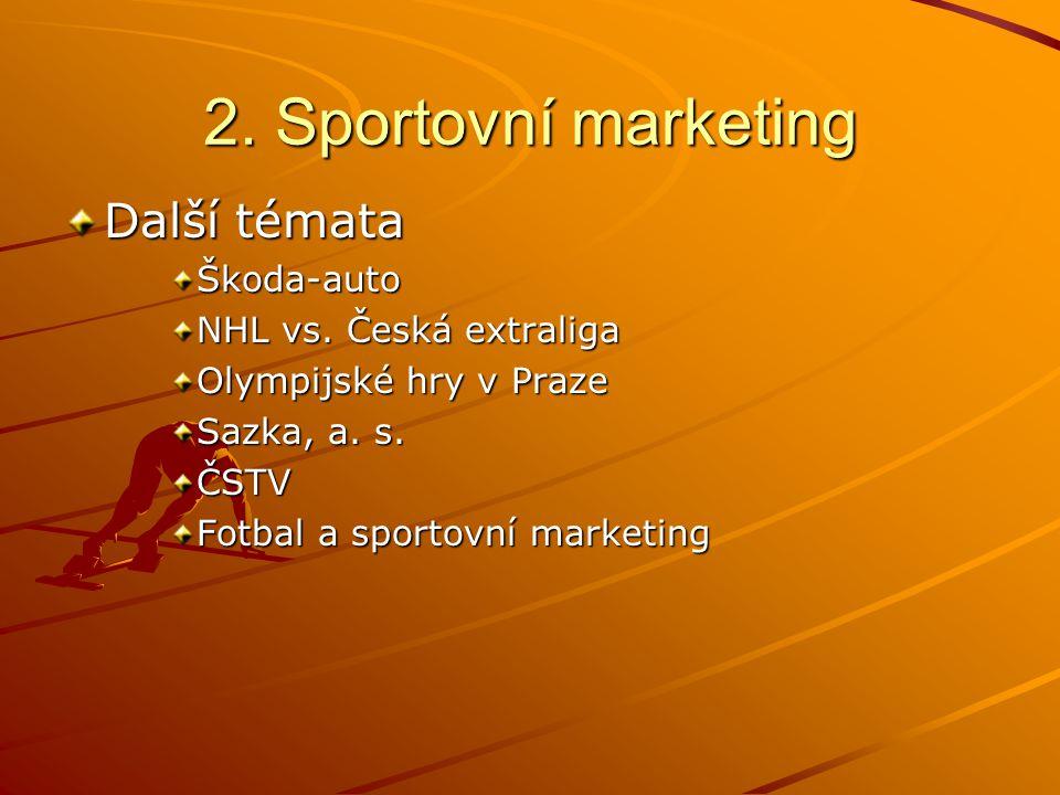 2. Sportovní marketing Další témata Škoda-auto NHL vs.