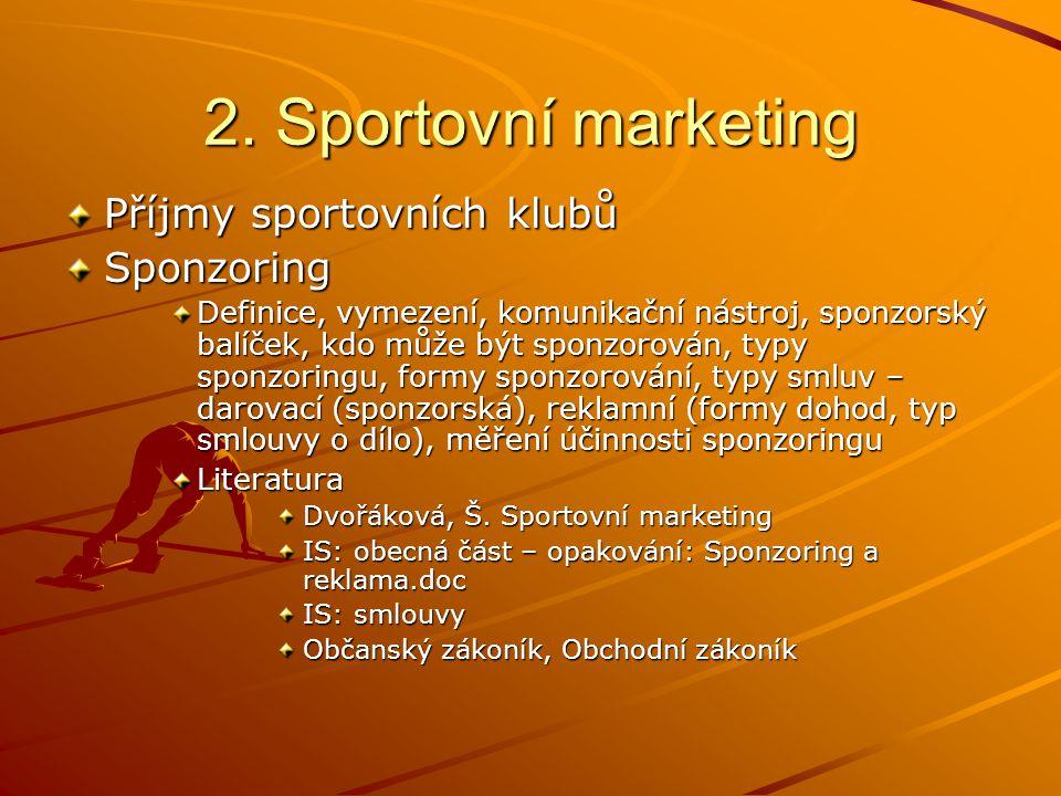 2. Sportovní marketing Příjmy sportovních klubů Sponzoring Definice, vymezení, komunikační nástroj, sponzorský balíček, kdo může být sponzorován, typy