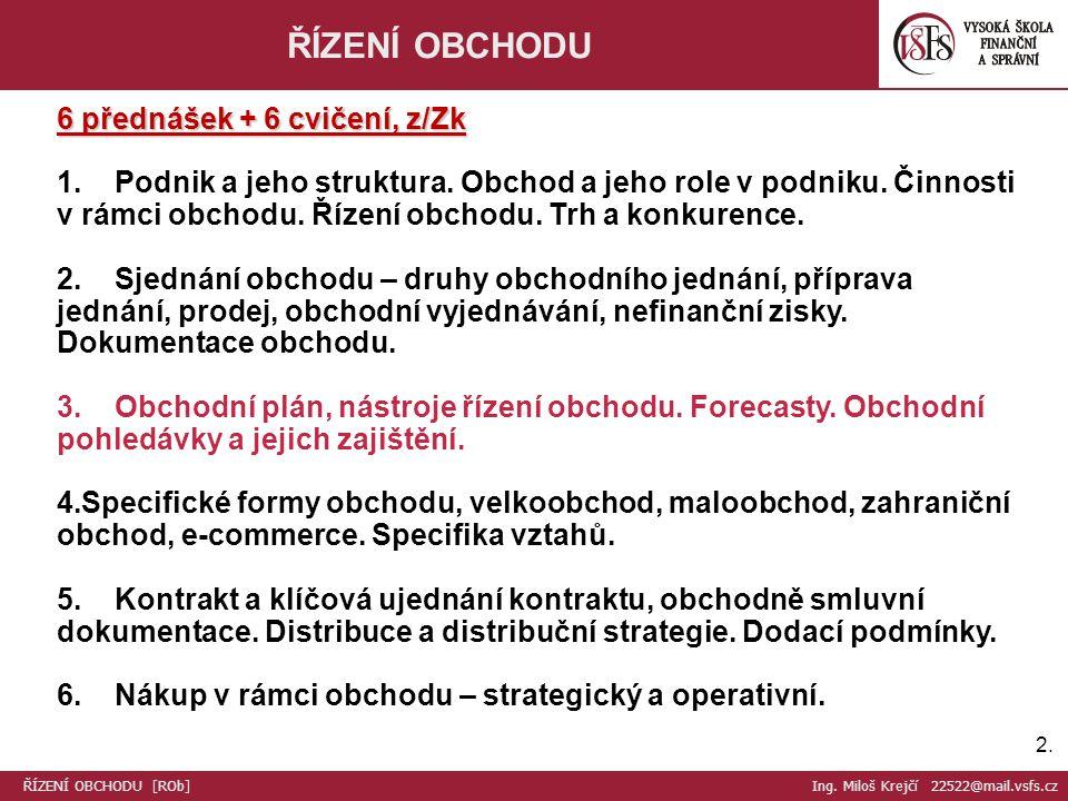 2.2. ŘÍZENÍ OBCHODU 6 přednášek + 6 cvičení, z/Zk 1.
