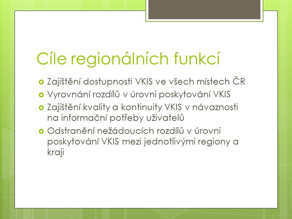 Cíle regionálních funkcí  Zajištění dostupnosti VKIS ve všech místech ČR  Vyrovnání rozdílů v úrovni poskytování VKIS  Zajištění kvality a kontinui