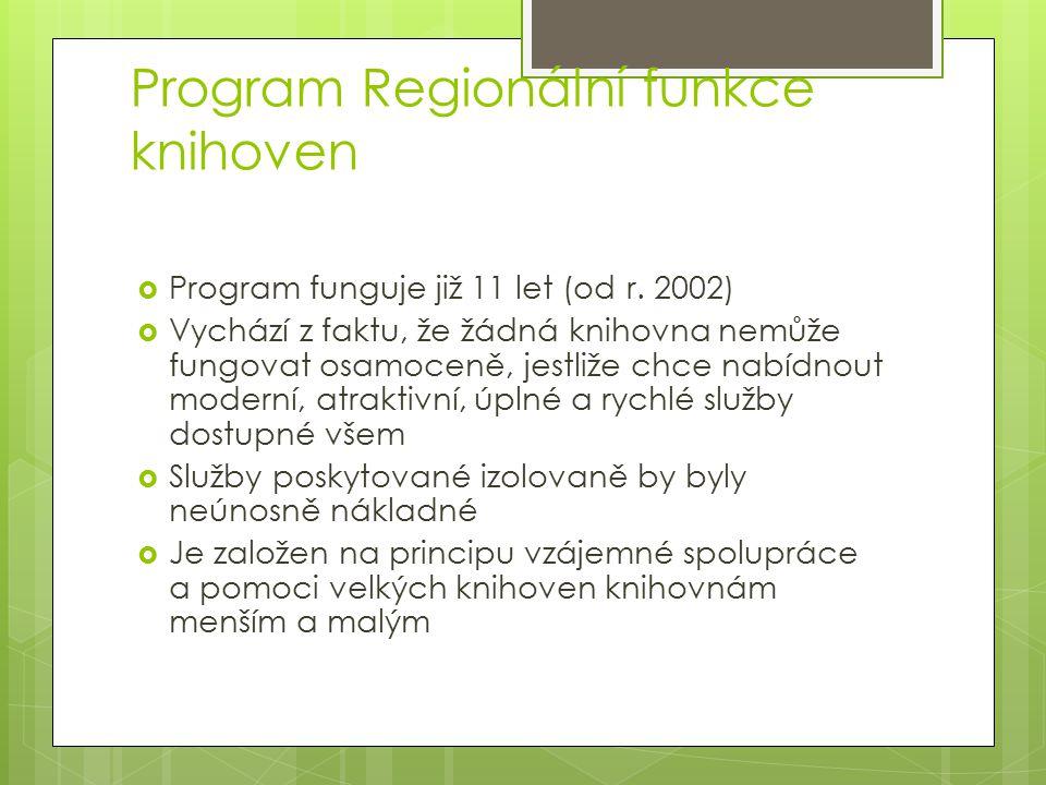 Program Regionální funkce knihoven  Program funguje již 11 let (od r. 2002)  Vychází z faktu, že žádná knihovna nemůže fungovat osamoceně, jestliže