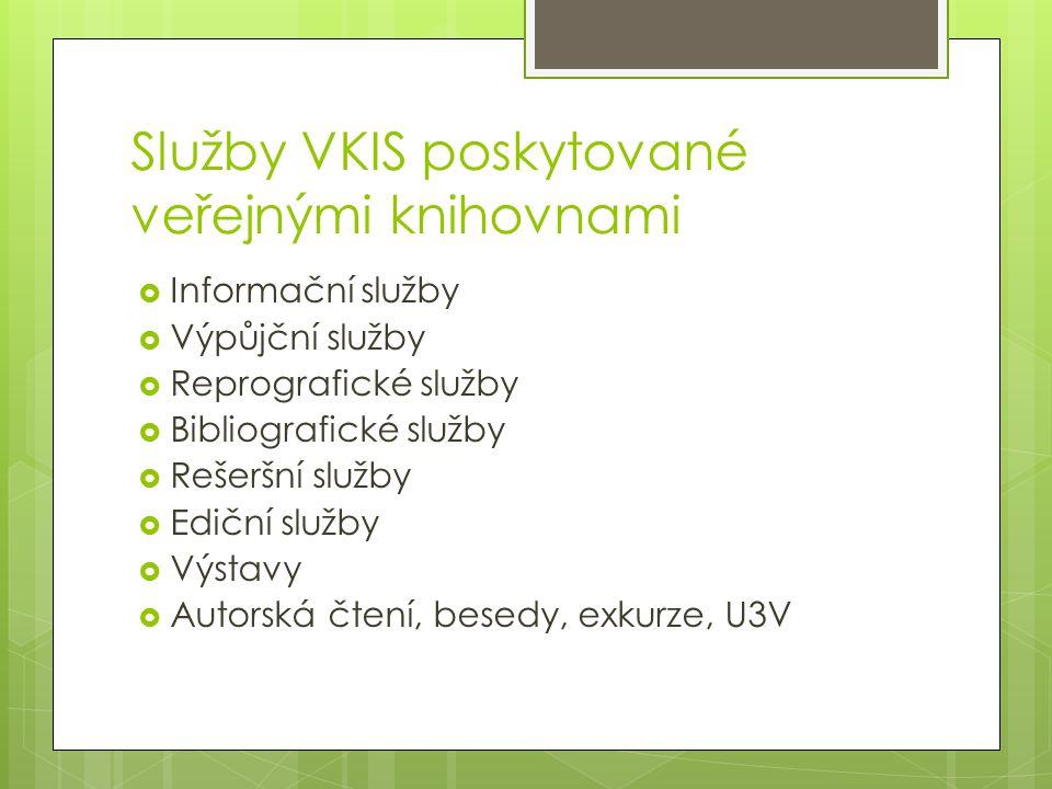 Služby VKIS poskytované veřejnými knihovnami  Informační služby  Výpůjční služby  Reprografické služby  Bibliografické služby  Rešeršní služby 