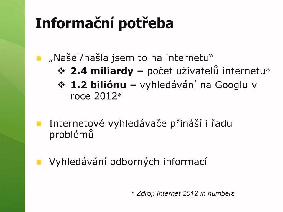 """Informační potřeba """"Našel/našla jsem to na internetu  2.4 miliardy – počet uživatelů internetu *  1.2 biliónu – vyhledávání na Googlu v roce 2012 * Internetové vyhledávače přináší i řadu problémů Vyhledávání odborných informací * Zdroj: Internet 2012 in numbers"""