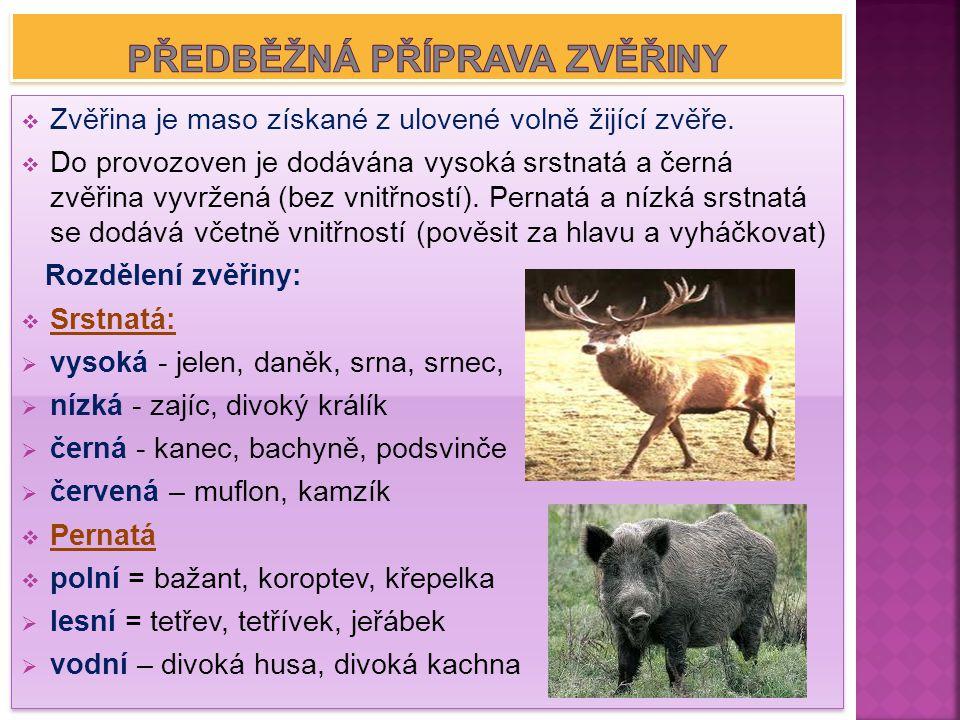  Zvěřina je maso získané z ulovené volně žijící zvěře.  Do provozoven je dodávána vysoká srstnatá a černá zvěřina vyvržená (bez vnitřností). Pernatá